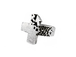 Pixel Plus Ring in Polished Silver