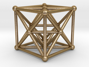 Metatron's Cube - Merkaba Hexahedron in Polished Gold Steel