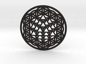 64 Tetrahedron Grid - Flower of life in Black Natural Versatile Plastic