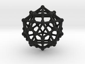 Dodecahedron - Icosahedron in Black Natural Versatile Plastic
