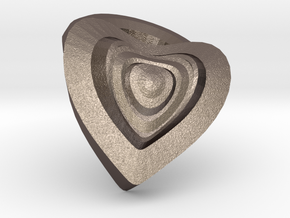 Heart- charm in Polished Bronzed Silver Steel