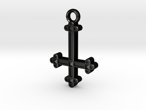 Inverted Cross Charm in Matte Black Steel