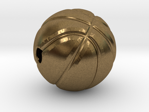 Necklace Pendant Basket Ball in Natural Bronze: Large