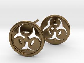 Bio Hazard Earrings in Polished Bronze