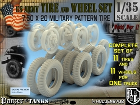1-35 GMC Tire+Rims 750x20 Set4 in Frosted Ultra Detail
