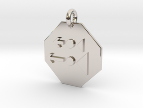 Pendant Newton's Second Law in Rhodium Plated Brass