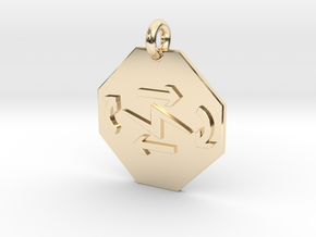 Pendant Thermodynamics First Law in 14k Gold Plated Brass