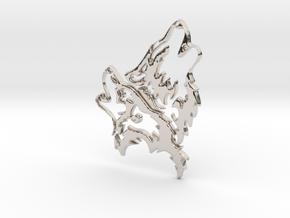 Wolfskopf / Wolfhead in Rhodium Plated Brass