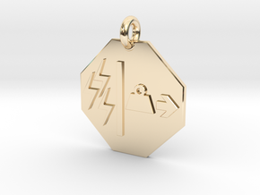 Pendant Mass Energy Equivalence in 14k Gold Plated Brass
