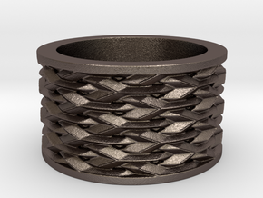 Basketweave Ring in Polished Bronzed Silver Steel: 6 / 51.5
