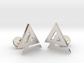 Delta 2 Cufflinks in Rhodium Plated