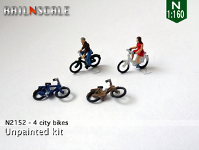 4 City-bikes (N 1:160) in Frosted Extreme Detail