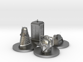 Monopoly type pawns Doctor Who in Natural Silver