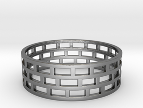 Brickwork Ring in Premium Silver