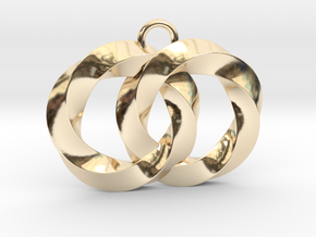 Twisting Planets Pendant  in 14K Yellow Gold