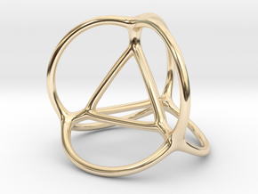 Soap Bubble Tetrahedron in 14K Yellow Gold: Small
