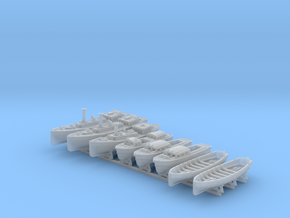 1/400 WW2 RN Boat Set 4 with Mounts in Smooth Fine Detail Plastic