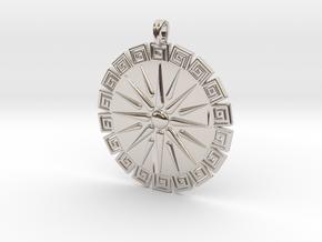 Vergina Sun Pendant Jewelry Symbol in Rhodium Plated Brass