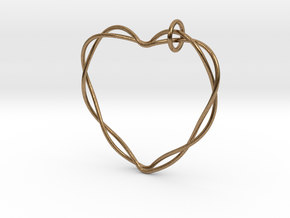 Woven Heart with Bail in Natural Brass (Interlocking Parts): Extra Small