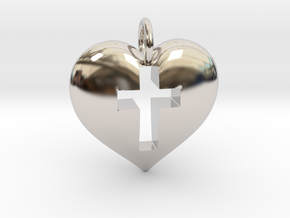 Cross Heart in Rhodium Plated Brass