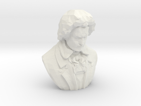 Beethoven Bust in White Natural Versatile Plastic: Small