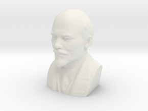 Lenin Bust in White Natural Versatile Plastic: Extra Small