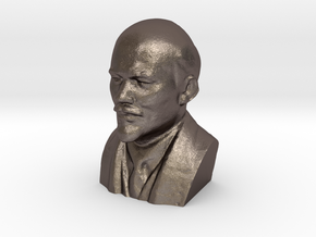 Lenin Bust in Polished Bronzed Silver Steel: Extra Small