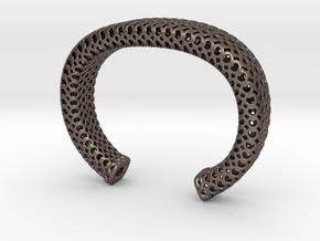 Heart Pattern Cuff in Polished Bronzed Silver Steel