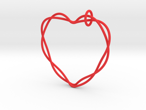 Woven Heart with Bail in Red Processed Versatile Plastic: Extra Large
