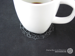 Drink coaster - Voronoi #9 (8 cm, thin) in Black Strong & Flexible