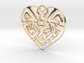 Celtic Heart Pendant in 14k Gold Plated Brass