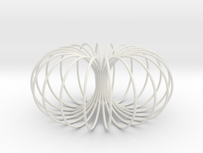 Torus sculpture pendant 150mm in White Natural Versatile Plastic