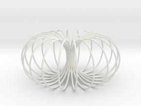 Torus sculpture pendant 150mm in White Natural Versatile Plastic