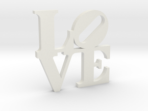 LOVE Sculpture 75mm Flat Wall in White Natural Versatile Plastic