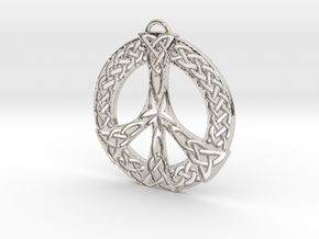 Celtic Peace Symbol Pendant in Rhodium Plated Brass