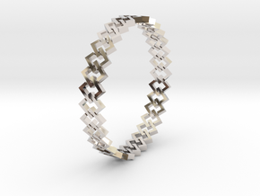 Square Bracelet 2 in Rhodium Plated Brass