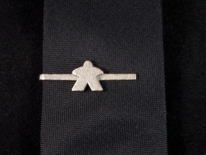 Meeple Tie Clip in Polished Nickel Steel: Small