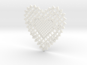 Heartshaped Coaster in White Strong & Flexible Polished