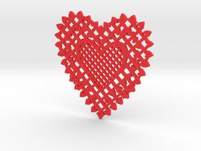 Heartshaped Coaster in Red Processed Versatile Plastic