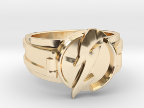 V3 Wavy Flash Ring Size 14 23.01mm in 14k Gold Plated Brass