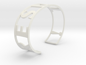 RESIST Emboss Text Cuff-L-thick in White Strong & Flexible