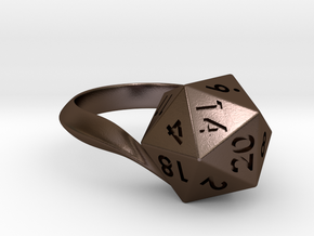 D20 Ring in Polished Bronze Steel: 6 / 51.5