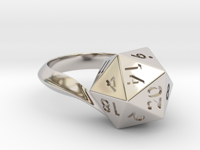 D20 Ring in Rhodium Plated Brass: 5 / 49