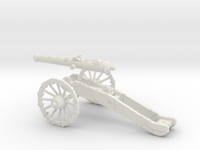 French gun 16 Pounder 7 Years War 28mm in White Strong & Flexible