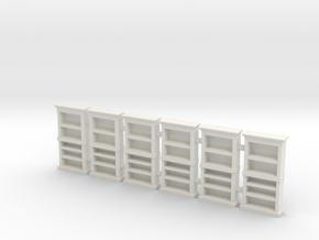 Bookcase 01. HO Scale (1:87) in White Natural Versatile Plastic
