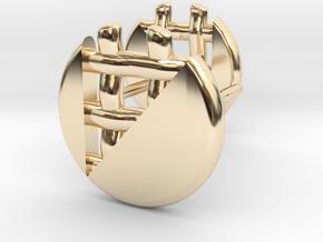 Pie Lattice Earring 2 in 14K Yellow Gold