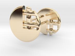 Pie Lattice Earrings 3 in 14k Gold Plated Brass