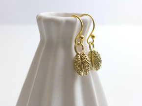 Willow Pollen Earrings - Nature Jewelry in Natural Brass