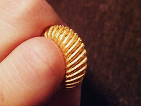Whirl Ring in Polished Gold Steel