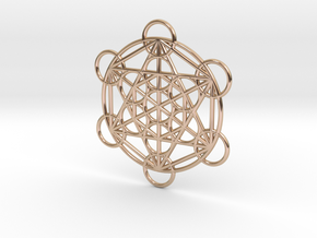 Metatron Grid Pendant in 14k Rose Gold Plated Brass: Small